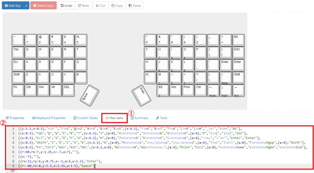 Keyboard Layout EditorのRAWデータ