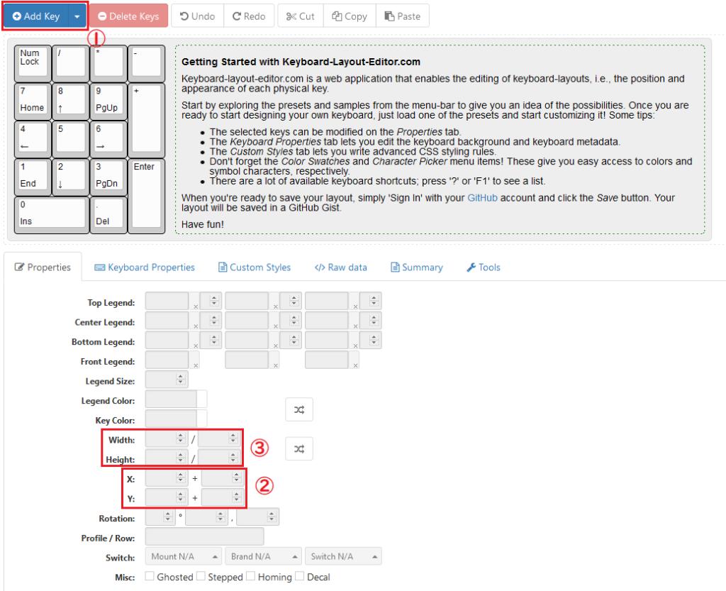 Keyboard Layout Editorの初期画面